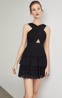 BCBGMAXAZRIA Alissa Ruffled Lace Dress