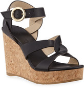 Jimmy Choo Aleili Leather Cork Wedge Sandals
