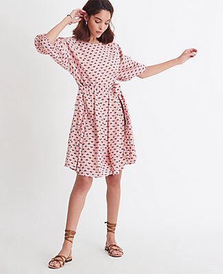 Ann Taylor Floral Belted Flare Dress