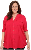 Calvin Klein Plus Plus Size Crew Neck Roll Sleeve
