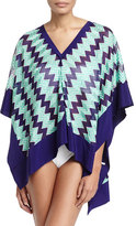 Missoni Mare Chevron-Knit Poncho Coverup, Blue