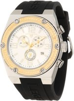Swiss Legend Men's Throttle Chronograph Silver Dial Gold Tone Bezel Black Silicone