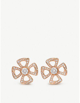 Bvlgari Fiorever 18ct rose-gold and diamond earrings