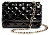 Betseyville by Betsey Johnson Faux Leather Women's Faux Leather Quilted Crossbody Handbag with Studs and Chain Strap
