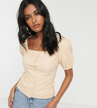 Glamorous milkmaid top in soft faux leather-Tan