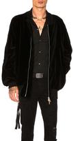 Unravel Vision Velvet Bomber Jacket in Black.