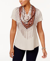 Style&Co. Style & Co T-Shirt with Detachable Scarf, Created for Macy's