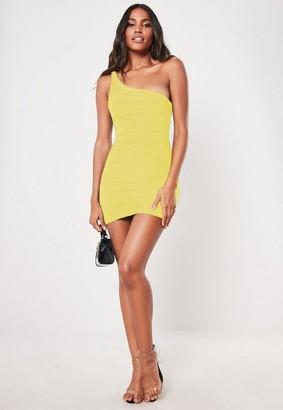 Missguided Petite Yellow Slinky One Shoulder Mini Dress