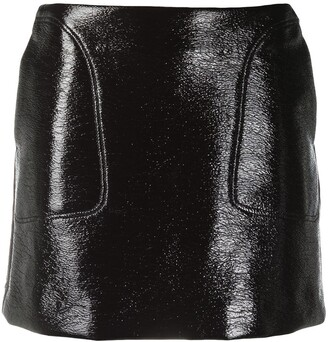 Courrèges Eyewear Logo Faux Leather Mini Skirt