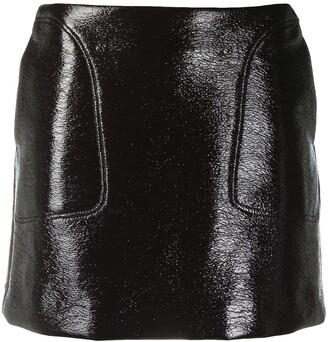 Courreges Logo Faux Leather Mini Skirt