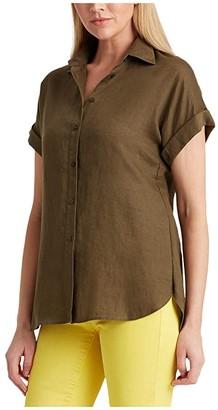 Lauren Ralph Lauren Linen Dolman-Sleeve Shirt (Dark Sage) Women's Clothing