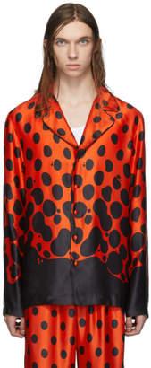 Palomo Spain Black and Red Silk Mercury Dot Pyjama Shirt