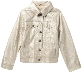 Urban Republic Metallic Faux Leather Trucker Jacket (Big Girls)