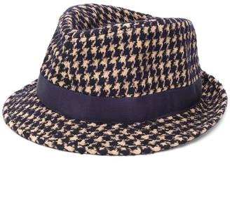 Tagliatore Houndstooth-Check Fedora Hat