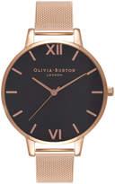 Olivia Burton Big Dial Black Dial & Rose Gold Mesh Watch