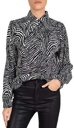 The Kooples Safari Chic Shiny Animal-Print Button-Down Shirt