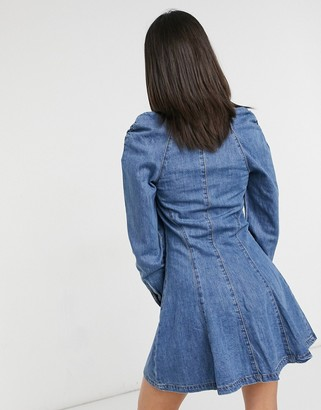Lost Ink denim dress in vintage wash with gathered shoulders