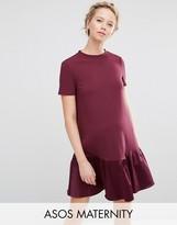 Asos Shift Dress with Satin Peplum Hem