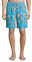 Peter Millar Tangled Octopus-Printed Swim Trunks, Orange Pattern