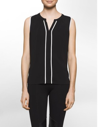 Calvin Klein Contrasting Trim V-Neck Sleeveless Top