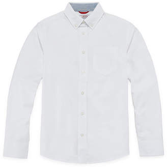 Izod Exclusive Boys Button Down Collar Long Sleeve Stretch Dress Shirt