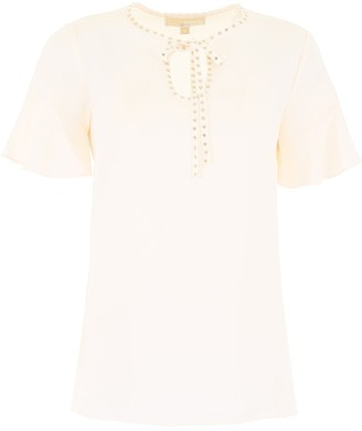 MICHAEL Michael Kors Studded Short Sleeve Blouse