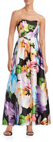 Ellen Tracy Strapless Floral Gown