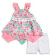 Little Lass Baby Girls Smocked Tunic and Lace Shorts Set