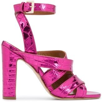 Paris Texas Metallic Cross Strap Sandals