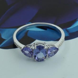 Artisan Three Stone Tanzanite Diamond Ring In18K White Gold