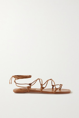 PORTE & PAIRE Knotted Leather Sandals - Tan