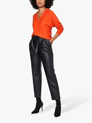 Mint Velvet V-Neck Batwing Sleeve Jumper, Orange