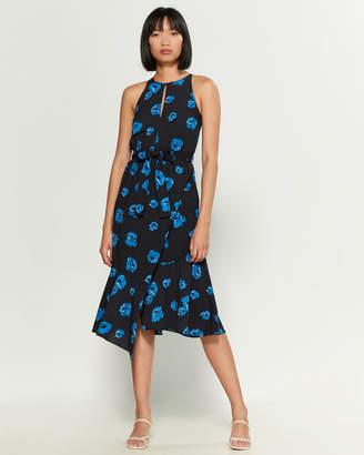 Derek Lam 10 Crosby Belted Asymmetrical Floral Dress