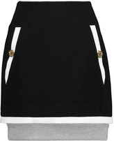 Moschino Ribbed cotton-trimmed crepe mini skirt