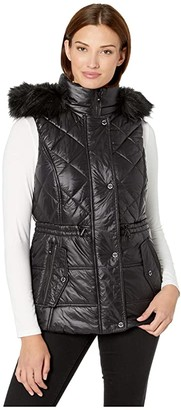 MICHAEL Michael Kors Active Vest with Faux Fur Trim Hood A421030TZ (Black) Women's Clothing