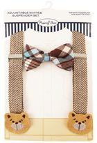 Rising StarTM Infant/Toddler Bear Suspender and Bowtie Set in Brown Herringbone