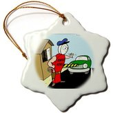 3dRose LLC Rich Diesslins Miscellaneous Funny Cartoons - Border Petrol - Ornaments - (orn_3037_1)