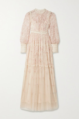 Needle & Thread Whitethorn Sequined Embroidered Tulle Gown - Cream