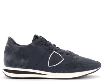 Philippe Model Tropez X Sneaker In Dark Blue Suede And Leather