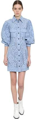 Ganni Puffed Sleeves Eyelet Lace Mini Dress