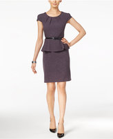 Connected Belted Peplum Sheath Dress