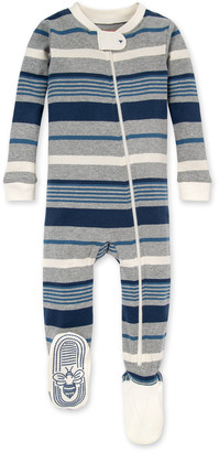 Burt's Bees Multi Stripe Organic Baby Zip Front Snug Fit Footed Pajamas