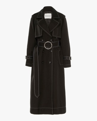 Caalo Black Contrast Long Hooded Trench