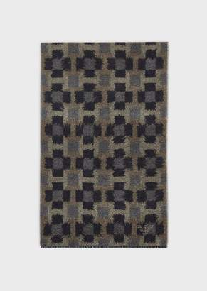 Emporio Armani Wool Blend Scarf With Degrade Colouring