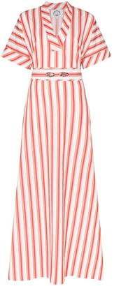 Evi Grintela Striped V-Neck Maxi Dress