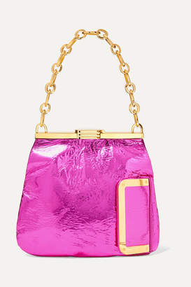 Bienen Davis Bienen-Davis - 5am Metallic Crinkled-leather Clutch - Fuchsia