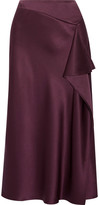 Cushnie et Ochs Draped Silk-charmeuse Midi Skirt - Grape