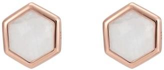 Katie Belle Rosina 18ct Rose Gold Vermeil Hexagon Gemstone Stud Earrings - Rainbow Moonstone