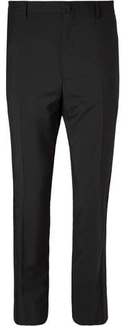 Lanvin Black Glittered Grosgrain-Trimmed Wool And Mohair-Blend Tuxedo Trousers