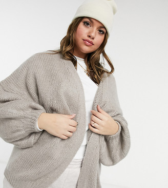 ASOS DESIGN Curve oversized cardigan in taupe